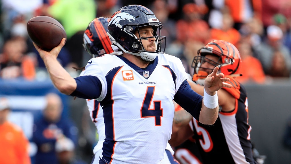 Case Keenum #4 of the Denver Broncos throws a pass during the first quarter of the game against the Cincinnati Bengals at Paul Brown Stadium on December 2, 2018 in Cincinnati, Ohio.