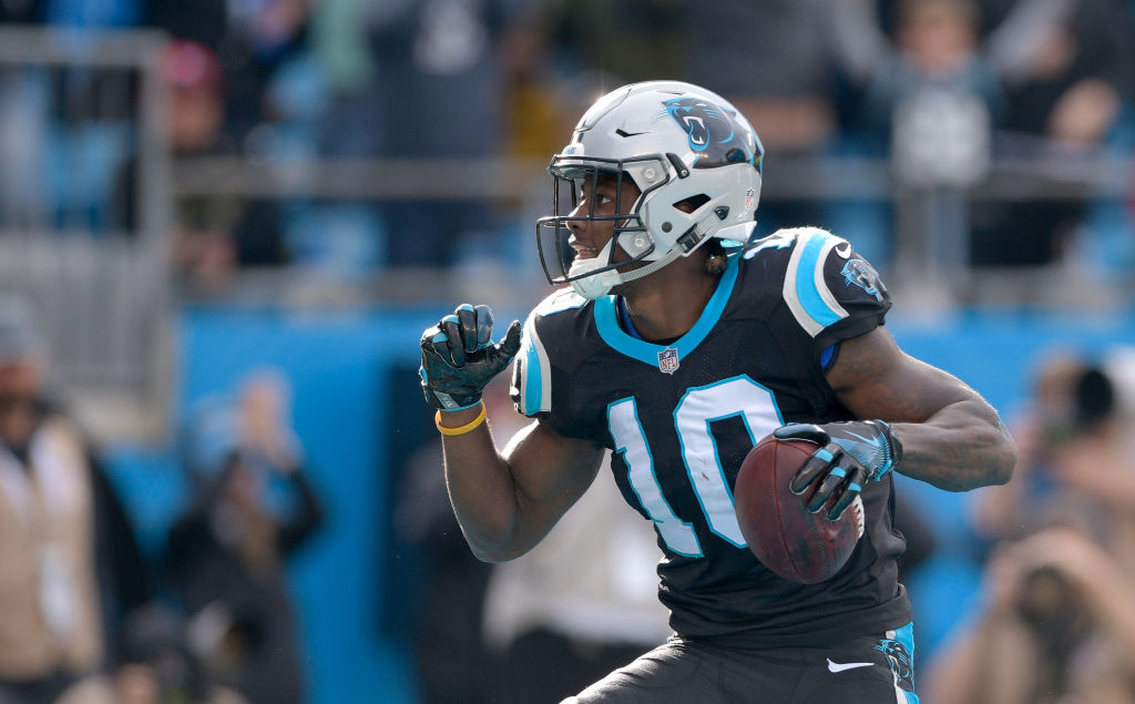 Curtis Samuel #10 of the Carolina Panthers reacts after scoring a touchdown against the Seattle Seahawks in the second quarter during their game at Bank of America Stadium on November 25, 2018 in Charlotte, North Carolina.