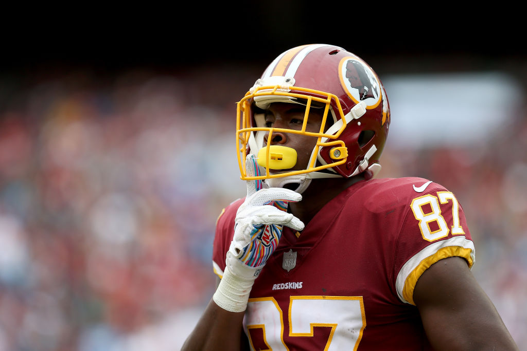 Jeremy Sprinkle #87 of the Washington Redskins looks on during the second half against the Carolina Panthers at FedExField on October 14, 2018 in Landover, Maryland.