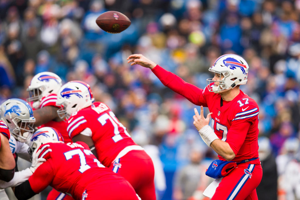 Josh Allen #17 of the Buffalo Bills passes the ball during the first quarter against the Detroit Lions at New Era Field on December 16, 2018 in Orchard Park, New York.