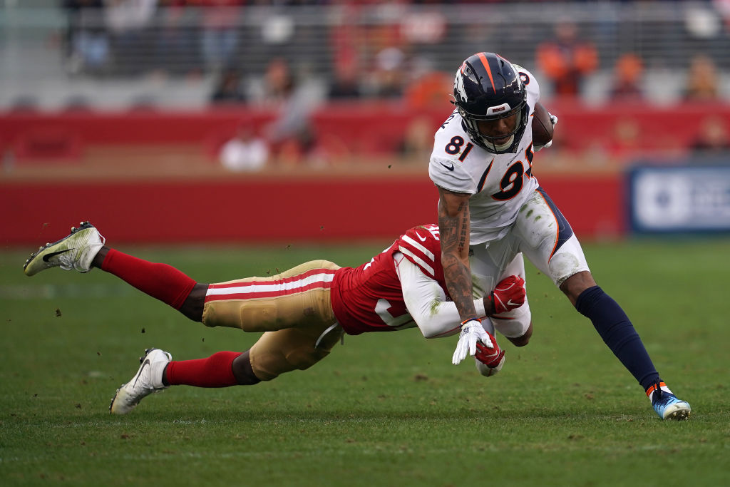 Tim Patrick #81 of the Denver Broncos runs after a catch against the San Francisco 49ers during their NFL game at Levi's Stadium on December 9, 2018 in Santa Clara, California.