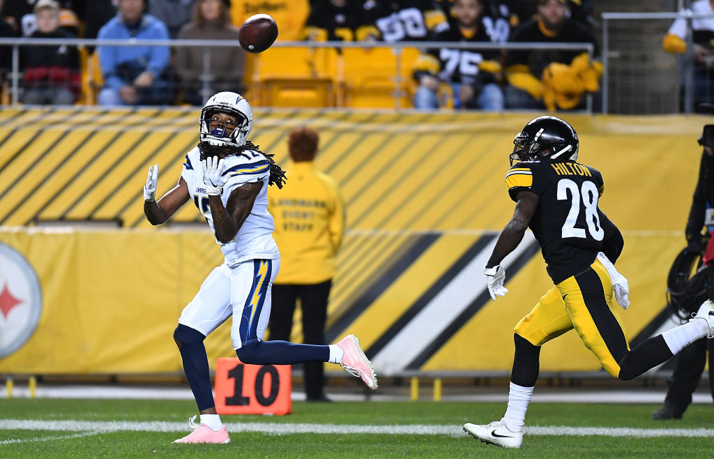 Travis Benjamin #12 of the Los Angeles Chargers catches a pass for a 46 yard touchdown reception in the first quarter during the game against the Pittsburgh Steelers at Heinz Field on December 2, 2018 in Pittsburgh, Pennsylvania.