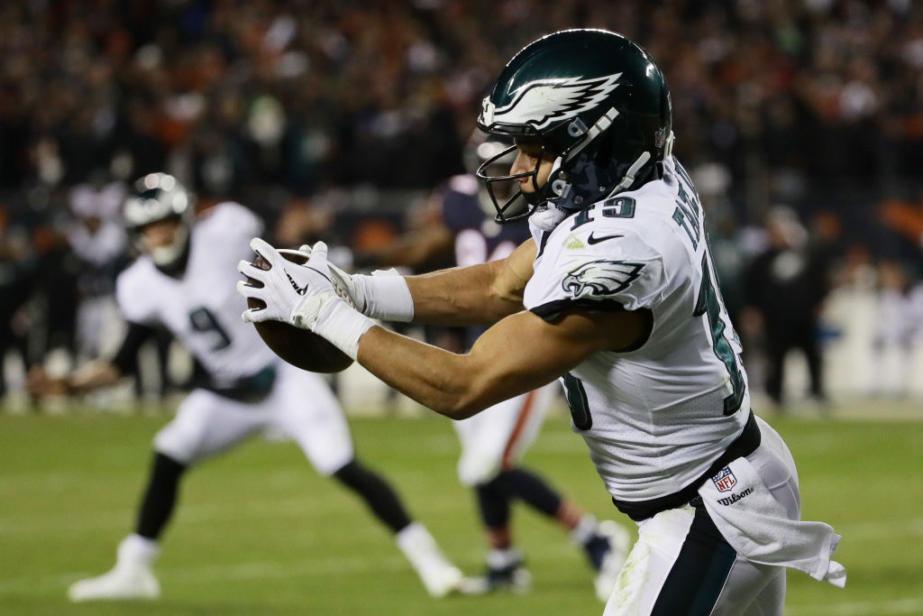 Golden Tate #19 of the Philadelphia Eagles completes a reception to score a touchdown against the Chicago Bears in the fourth quarter of the NFC Wild Card Playoff game at Soldier Field on January 06, 2019 in Chicago, Illinois.