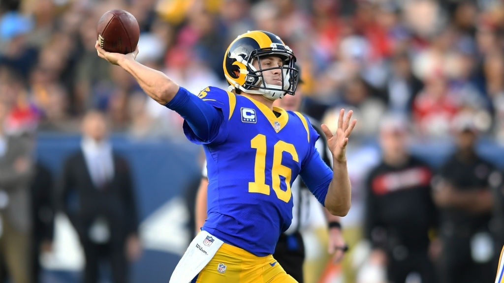 Jared Goff #16 of the Los Angeles Rams throws a pass against the San Francisco 49ers in the thrid quarter at Los Angeles Memorial Coliseum on December 30, 2018 in Los Angeles, California.