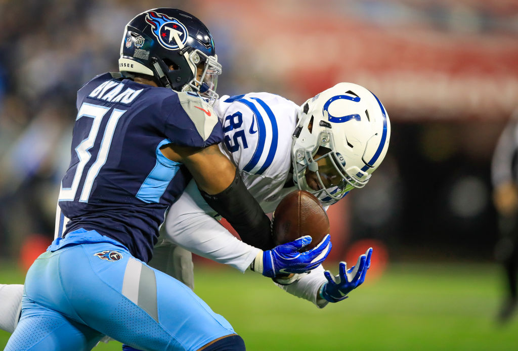 Eric Ebron #85 of the Indianapolis Colts catches a pass against Kevin Byard #31 of the Tennessee Titans during the first quarter at Nissan Stadium on December 30, 2018 in Nashville, Tennessee.