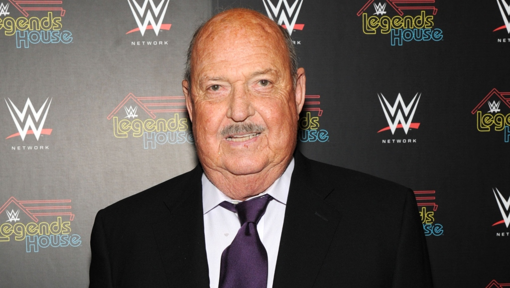 "Cast member Gene Okerlund attends the WWE screening of ""Legends' House"" at Smith & Wollensky on April 15, 2014 in New York City."
