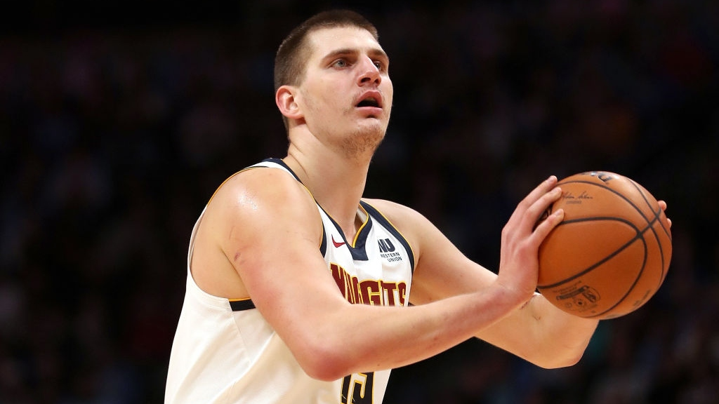 Nikola Jokic #15 of the Denver Nuggets plays the Toronto Raptors at the Pepsi Center on December 16, 2018 in Denver, Colorado.