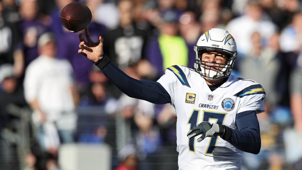 Quarterback Philip Rivers #17 of the Los Angeles Chargers in action against the Baltimore Ravens during the AFC Wild Card Playoff game at M&T Bank Stadium on January 06, 2019 in Baltimore, Maryland.
