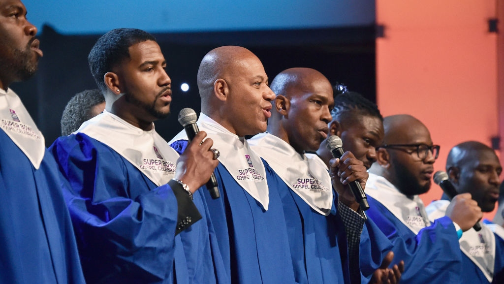 Members of the NFL Players Choir perform onstage during BET Presents 19th Annual Super Bowl Gospel Celebration at Bethel University on February 1, 2018 in St Paul, Minnesota.