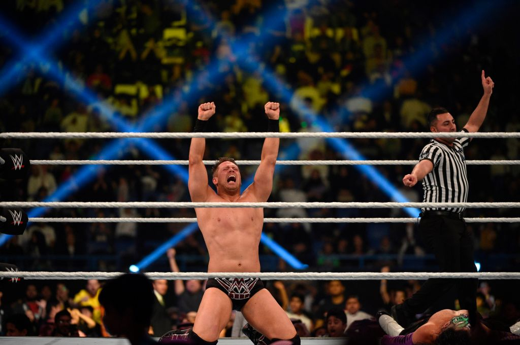 The Miz celebrates after winning his match during the WWE World Cup Quarterfinal match as part of as part of the World Wrestling Entertainment (WWE) Crown Jewel pay-per-view at the King Saud University Stadium in Riyadh on November 2, 2018.