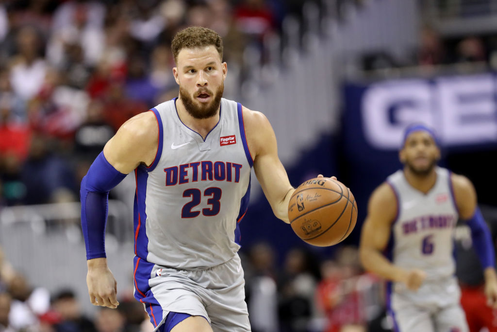 Blake Griffin #23 of the Detroit Pistons dribbles the ball against the Washington Wizards in the first half at Capital One Arena on January 21, 2019 in Washington, DC.