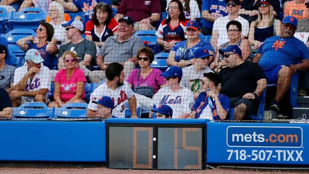 A detailed view of the pitch clock during the Grapefruit League spring training game between the New York Mets and the Atlanta Braves at First Data Field on February 23, 2019 in Port St. Lucie, Florida.