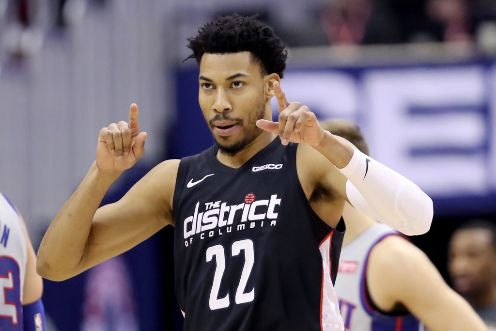 Otto Porter Jr. #22 of the Washington Wizards celebrates after hitting a three pointer against the Detroit Pistons in the first half at Capital One Arena on January 21, 2019 in Washington, DC