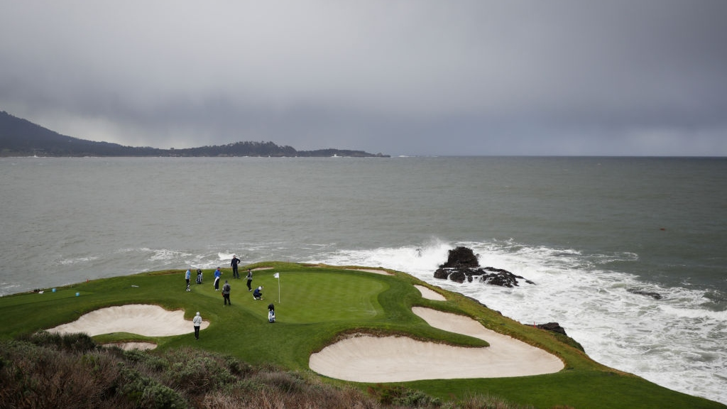 A general view as Tommy Fleetwood of England and Paul Casey of England practice during a practice round prior to the AT&T Pebble Beach Pro-Am at Pebble Beach Golf Links on February 05, 2019 in Pebble Beach, California.
