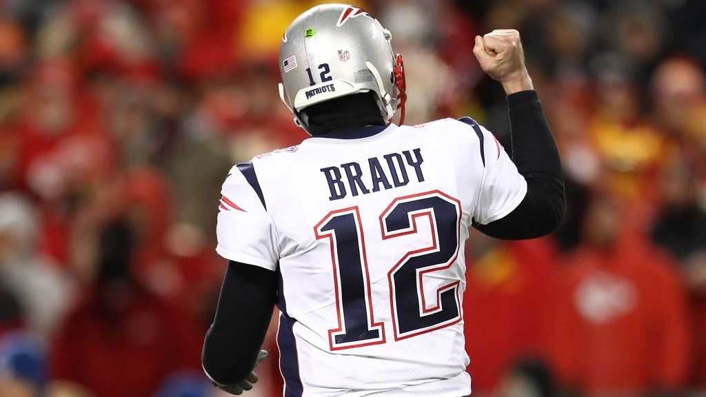 Tom Brady #12 of the New England Patriots reacts in the second half against the Kansas City Chiefs during the AFC Championship Game at Arrowhead Stadium on January 20, 2019 in Kansas City, Missouri.