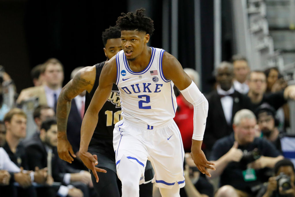 Cam Reddish #2 of the Duke Blue Devils celebrates a three point basket against the UCF Knights during the first half in the second round game of the 2019 NCAA Men's Basketball Tournament at Colonial Life Arena on March 24, 2019 in Columbia, South Carolina.