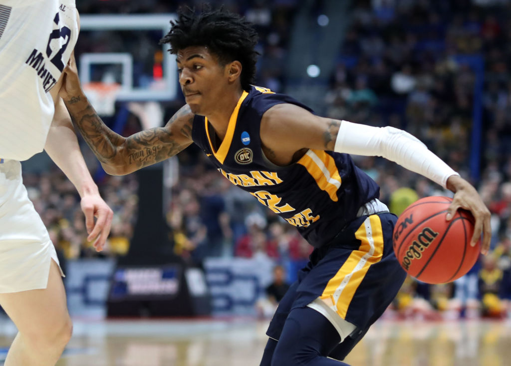 Ja Morant #12 of the Murray State Racers drives against the Marquette Golden Eagles during their first round game of the 2019 NCAA Men's Basketball Tournament at XL Center on March 21, 2019 in Hartford, Connecticut.