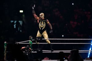 Rey Mysterio greets the crowd during the WWE World Cup Quarterfinal match as part of as part of the World Wrestling Entertainment (WWE) Crown Jewel pay-per-view at the King Saud University Stadium in Riyadh on November 2, 2018.
