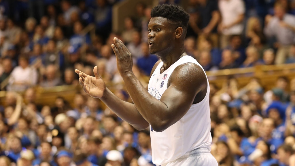 Zion Williamson #1 of the Duke Blue Devils reacts after a play against the Clemson Tigers during their game at Cameron Indoor Stadium on January 05, 2019 in Durham, North Carolina.
