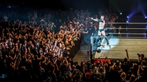 Finn celebrates victory during the WWE show at Zenith Arena on may 09, 2017 in Lille, France.