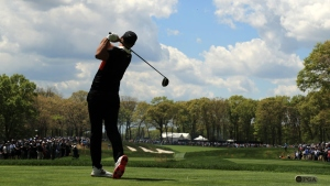 Brooks Koepka of the United States plays his shot from the ninth tee during the first round of the 2019 PGA Championship at the Bethpage Black course on May 16, 2019 in Farmingdale, New York.