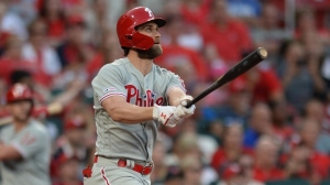 Bryce Harper #3 of the Philadelphia Phillies hits a grand slam in the second inning against the St. Louis Cardinals at Busch Stadium on May 7, 2019 in St. Louis, Missouri.