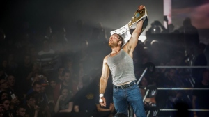 Dean Ambrose celebrates victory over the Wiz during the WWE show at Zenith Arena on may 09, 2017 in Lille, France.