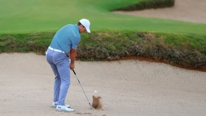 Jordan Spieth plays a shot from a bunker on the third hole on the third hole during the final round of the AT&T Byron Nelson at Trinity Forest Golf Club on May 20, 2018 in Dallas, Texas.