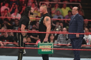 Seth Rollins, Brock Lesnar, Paul Heyman WWE Money in the Bank