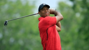 Tiger Woods watches his tee shot on the fifth hole during the final round of The Memorial Tournament Presented by Nationwide at Muirfield Village Golf Club on June 3, 2018 in Dublin, Ohio.