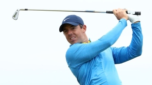 Rory McIlroy of Northern Ireland plays a shot during a practice round prior to the 148th Open Championship held on the Dunluce Links at Royal Portrush Golf Club on July 17, 2019 in Portrush, United Kingdom.