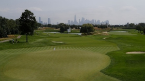 A general view of the ninth green during a practice round of The Northern Trust at Liberty National Golf Club on August 07, 2019 in Jersey City, New Jersey.