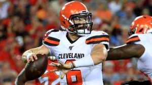 Baker Mayfield #6 of the Cleveland Browns passes during a preseason game against the Tampa Bay Buccaneers at Raymond James Stadium on August 23, 2019 in Tampa, Florida.